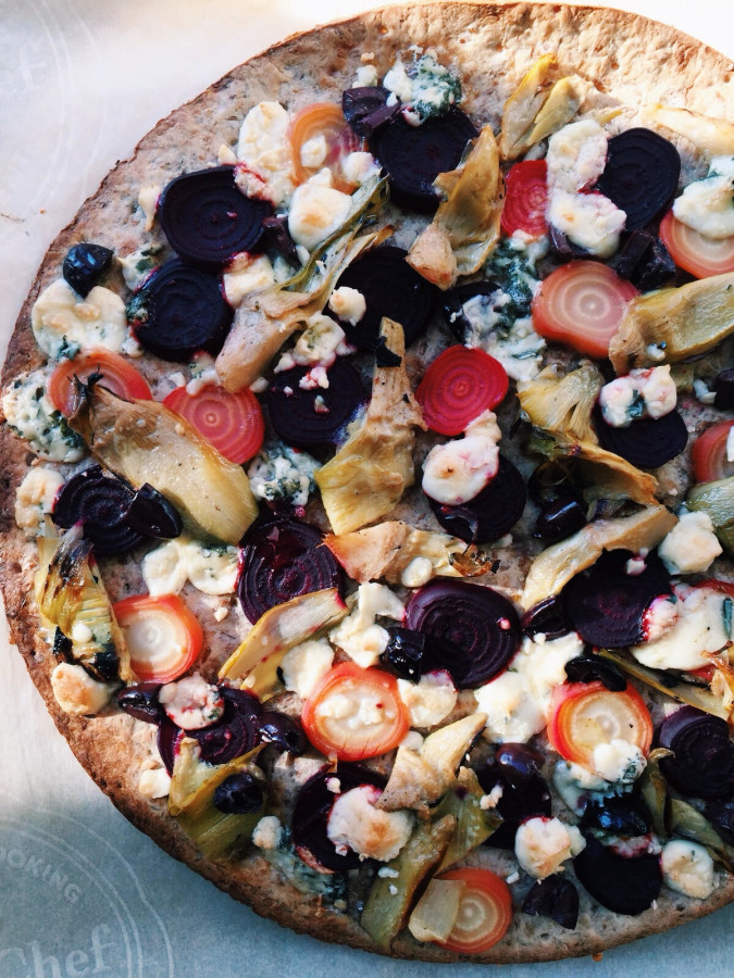Two Flatbreads: Flatbread with Beets, Blue Cheese, and Artichoke Hearts / Katie Workman themom100.com