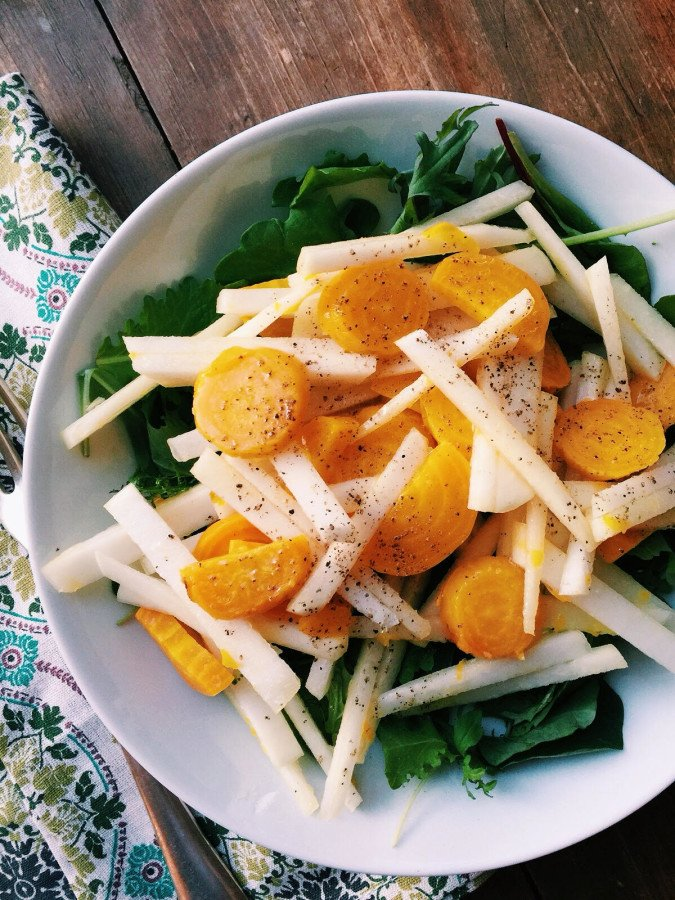 Spring Greens Salad with Kohlrabi and Golden Beets / Katie Workman themom100.com