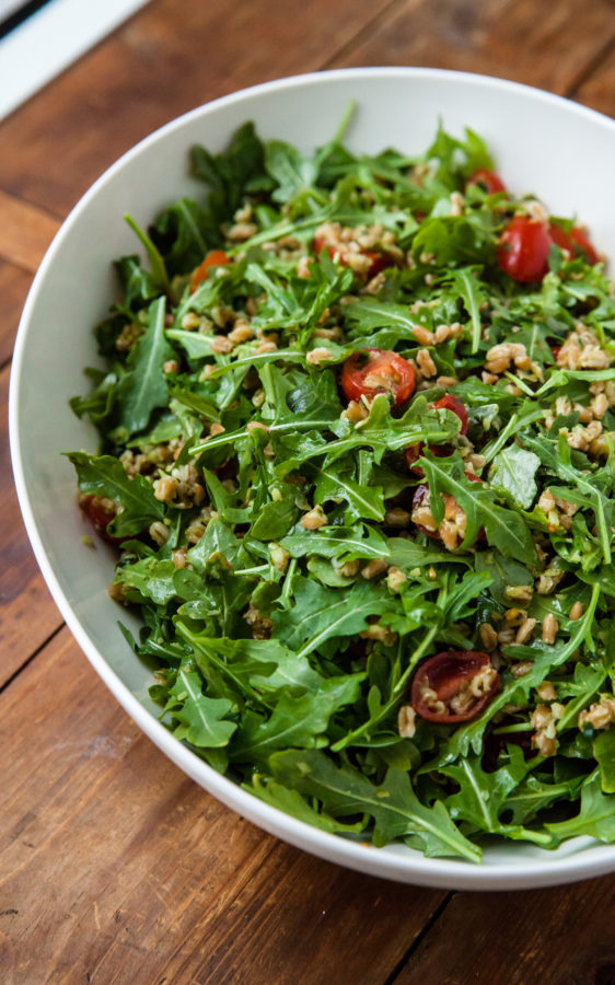 Farro and Arugula Salad with Orange Herb Vinaigrette / Carrie Crow / Katie Workman / themom100.com