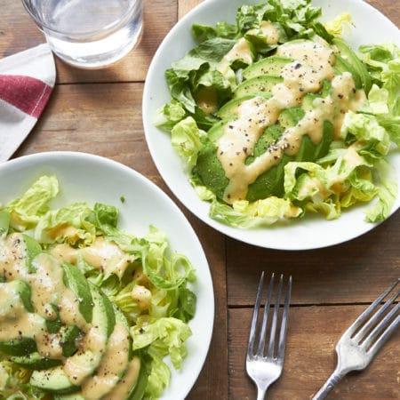Avocado Salad with Creamy Miso Dressing / Mia Mueller Schoell / Katie Workman themom100.com