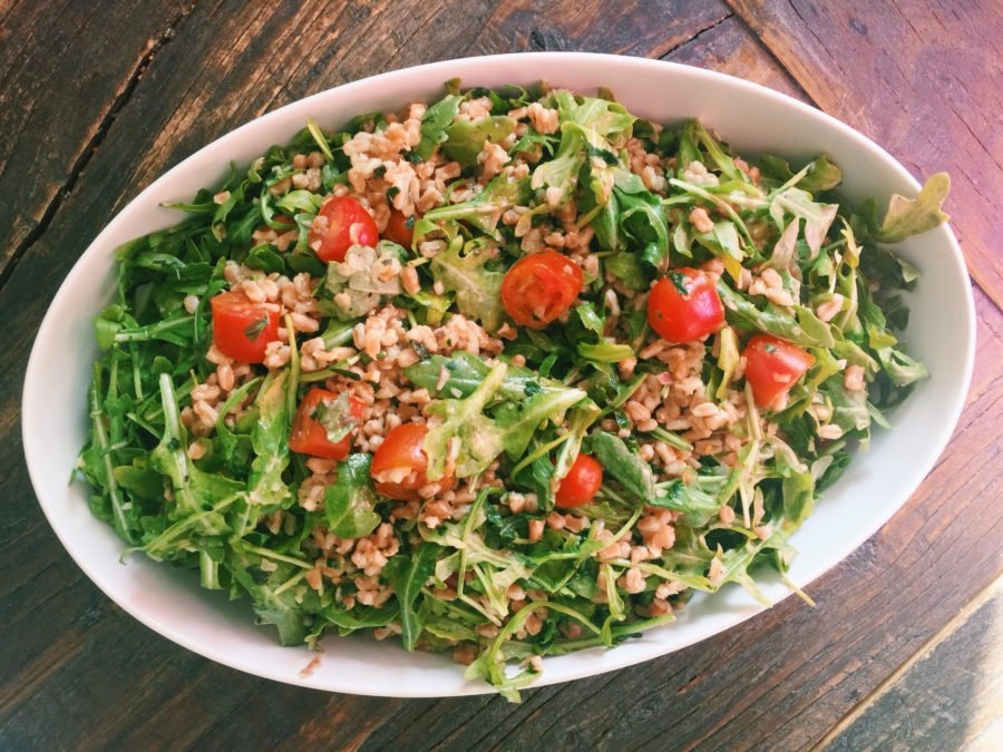 Farro and Arugula Salad with Orange Herb Vinaigrette / Katie Workman themom100.com