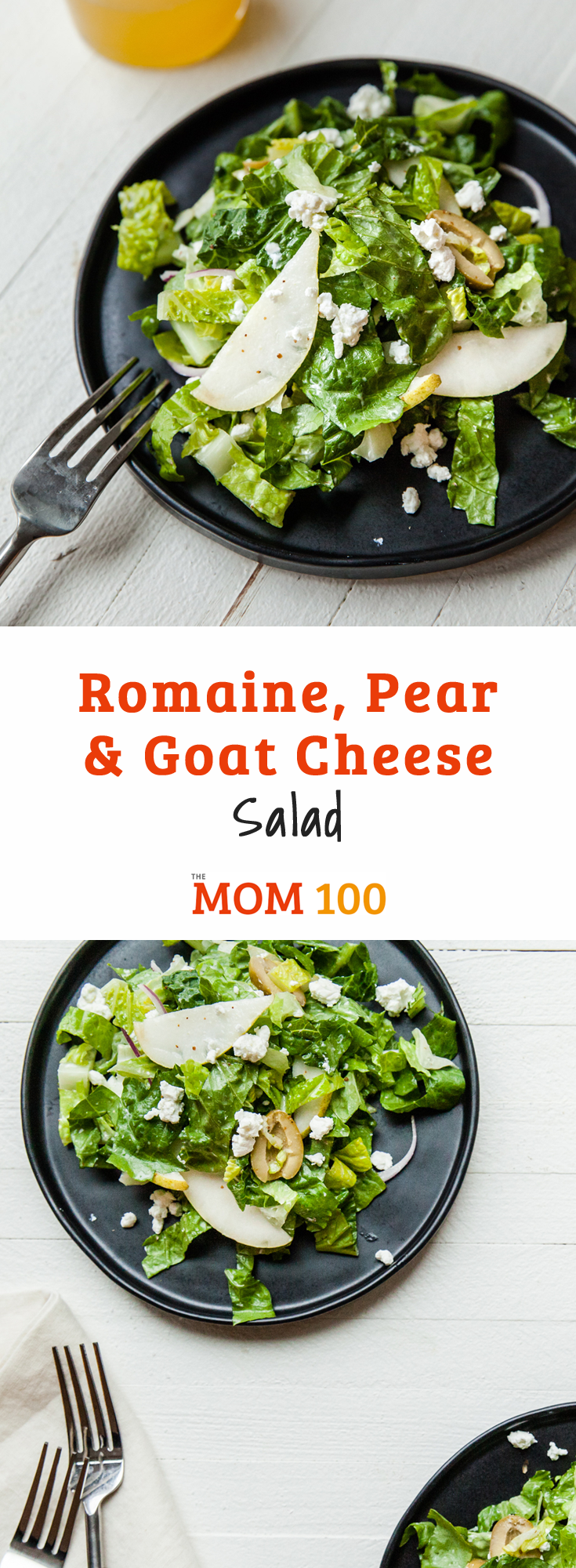 Serve this Romaine, Pear and Goat Cheese Salad with any fall meal. You can also add a handful of dried cranberries for color and a burst of sweet tartness.