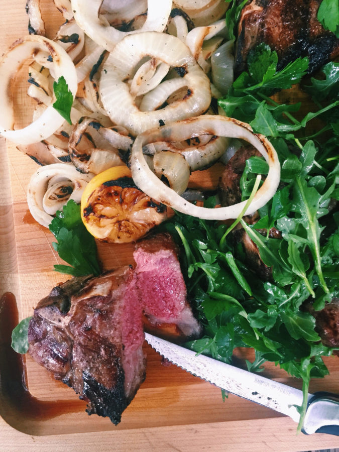 Grilled Lamb Chops and Onions with Herb Salad / Katie Workman / themom100.com