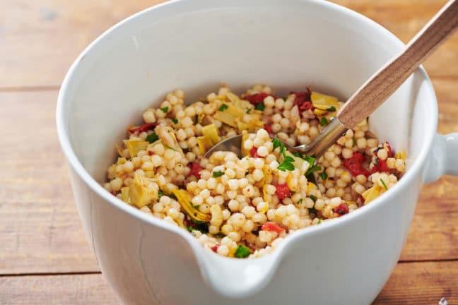 Artichoke, Feta and Roasted Pepper Couscous Salad