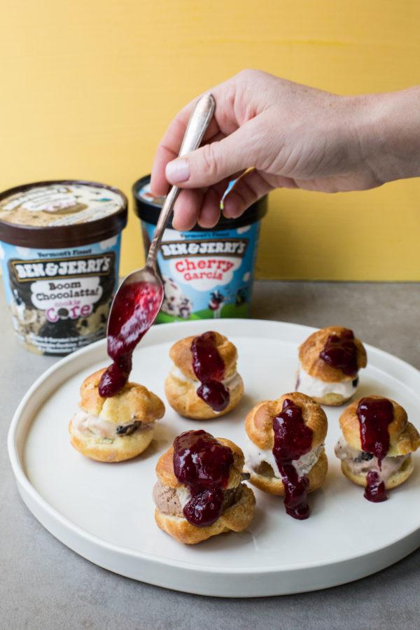 Cream Puffs with Ice Cream and Raspberry Sauce / Sarah Crowder / Katie Workman / themom100.com