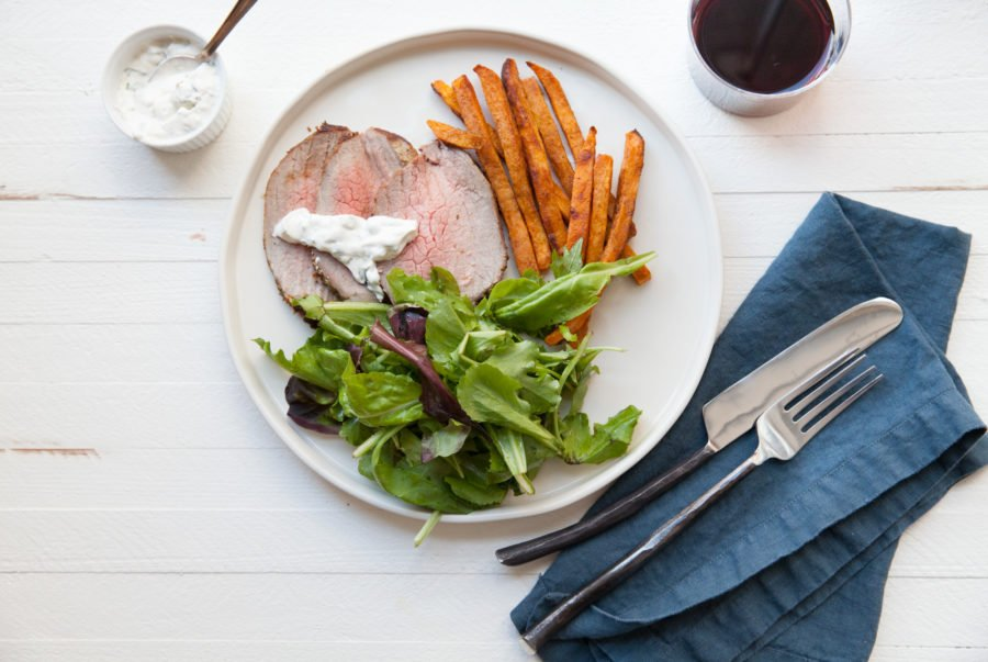 Roast Eye of Round Beef with Thyme and Rosemary