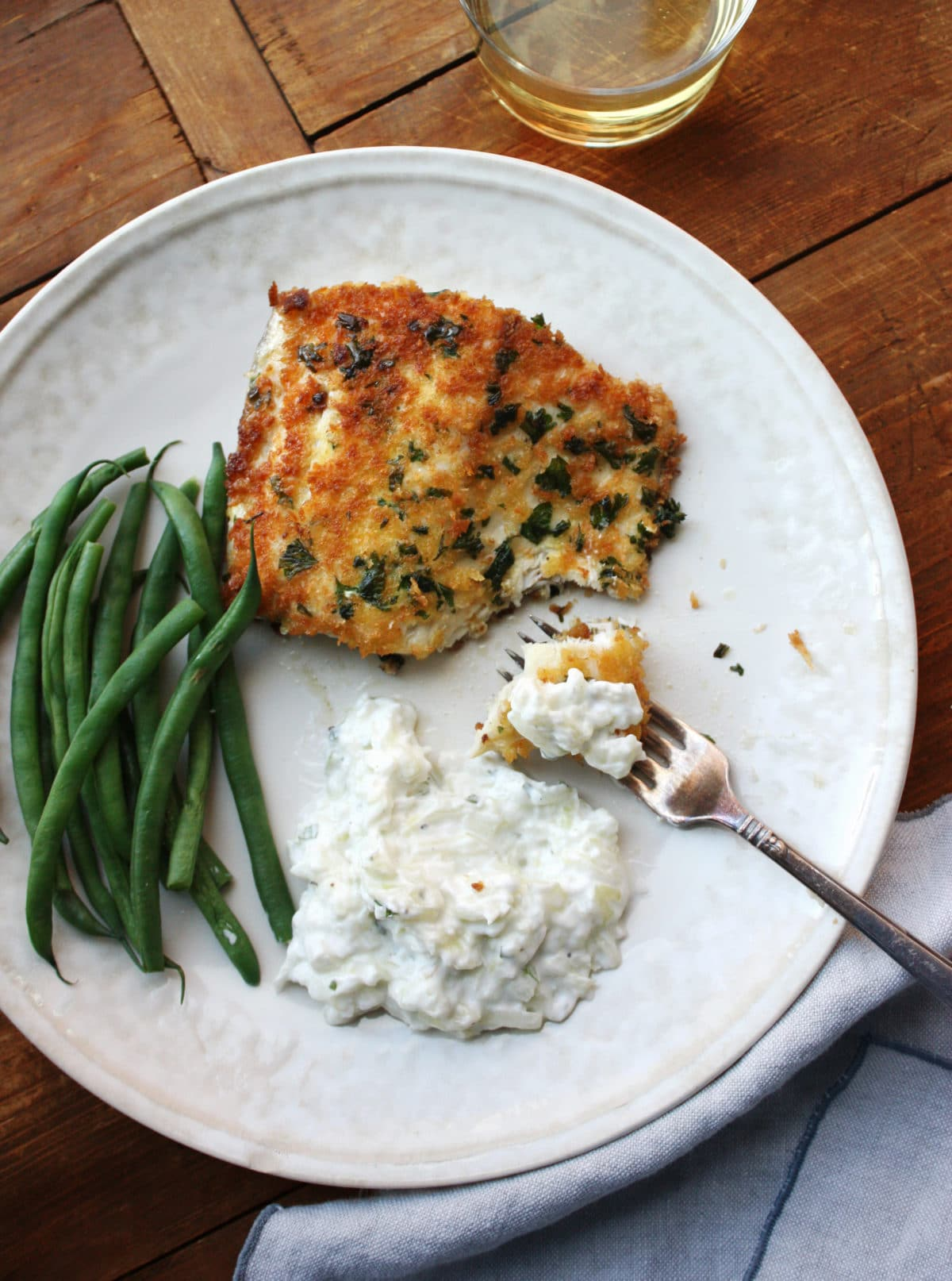 Panko Crusted Fish with Tzatziki / Laura Agra / Katie Workman / themom100.com