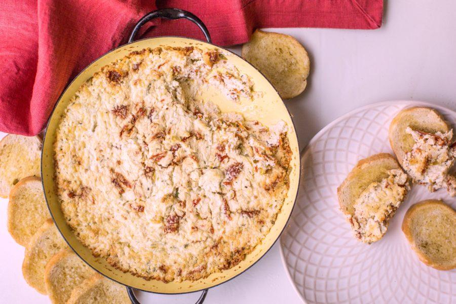 Rosy Hot Goat Cheese and Sundried Tomato Dip / Sarah Crowder / Katie Workman / themom100.com