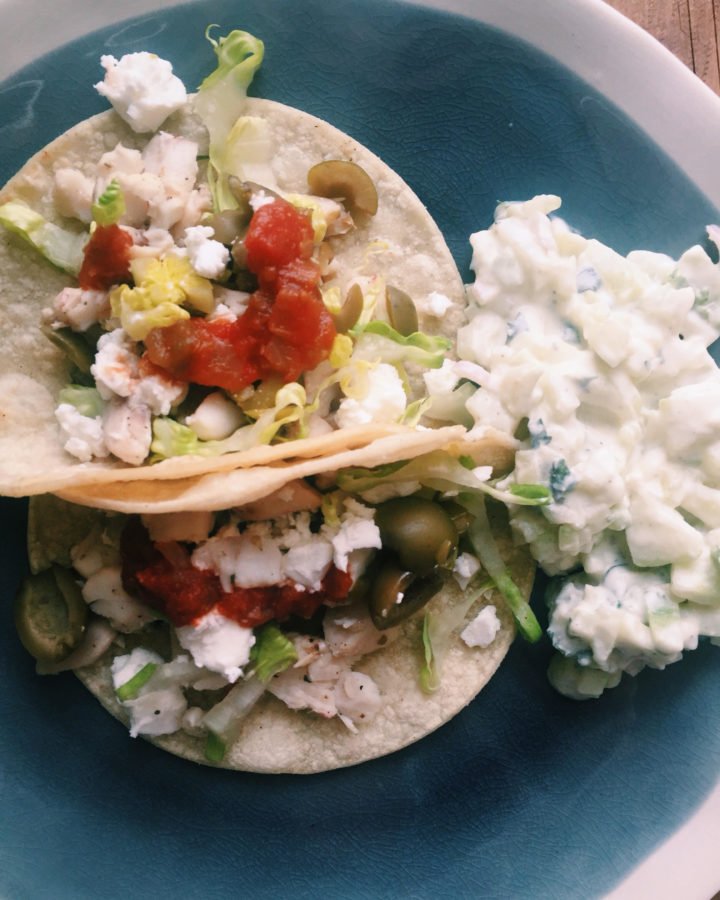 Greek Fish Tacos / Katie Workman / themom100.com
