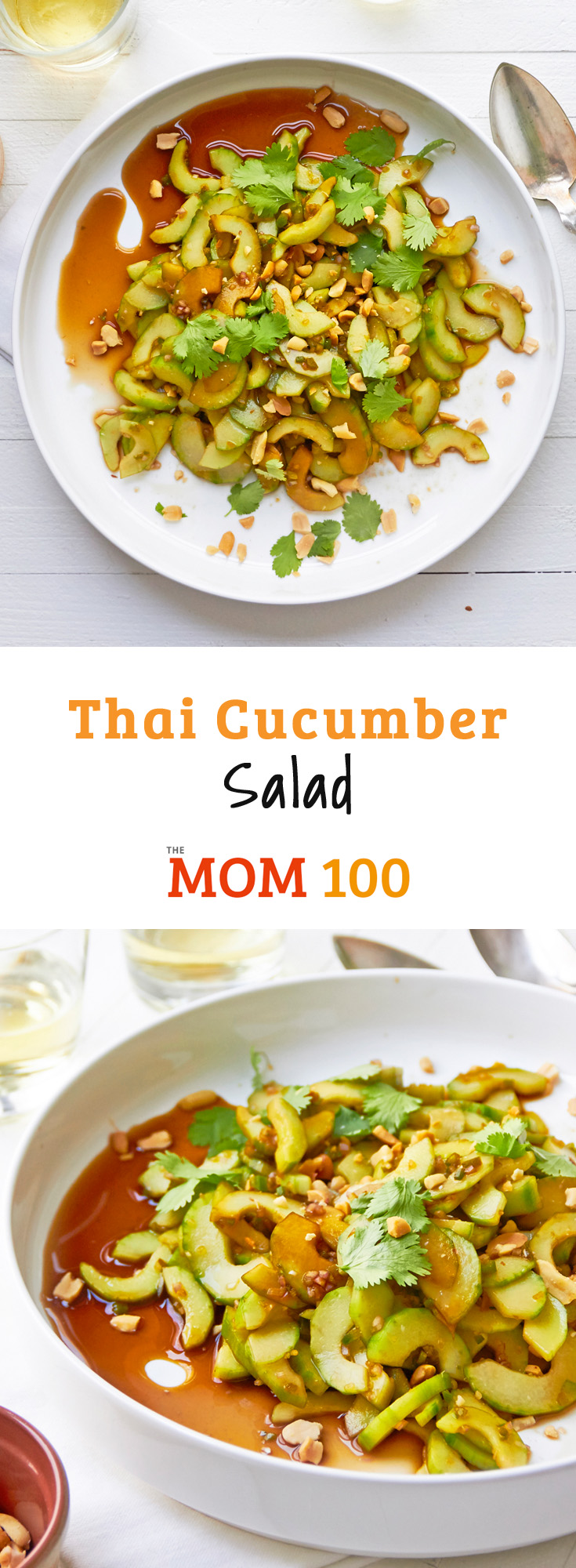 This simple Thai Cucumber salad features crunchy cucumbers, enhanced with just a bit of citrus, soy sauce and a few other Thai ingredients.