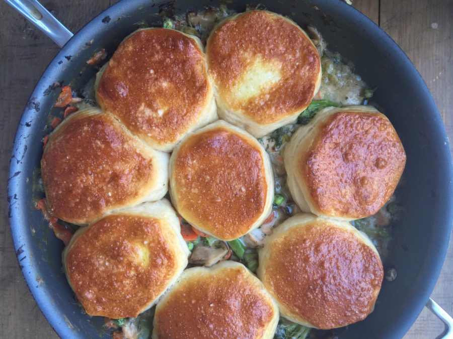 Salmon and Vegetable Biscuit Pot Pie Casserole / Katie Workman / themom100.com