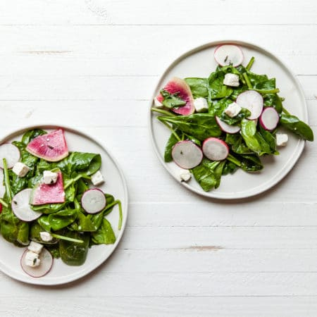Spinach and Radish Salad with Feta / Carrie Crow / Katie Workman / themom100.com