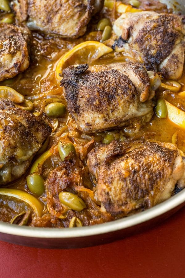 Chicken Thighs with Onions and Green Olives / Sarah Crowder / Katie Workman / themom100.com