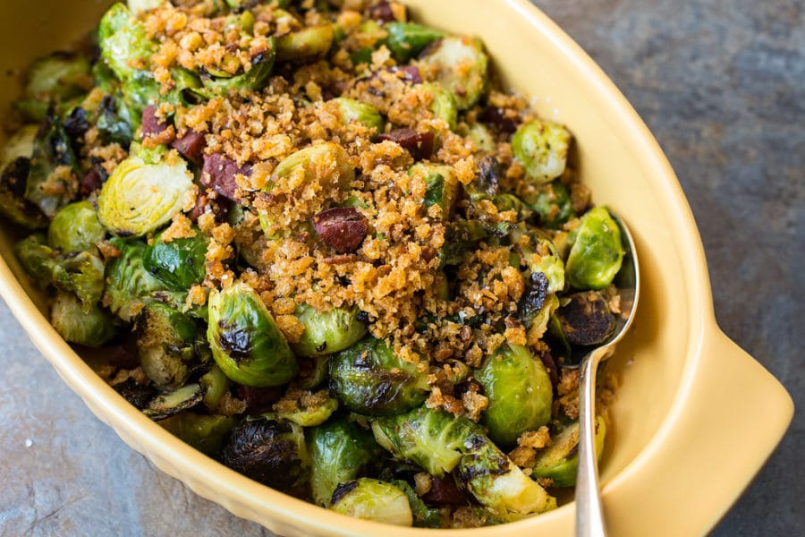 Pan Roasted Brussels Sprout with Chorizo and Toasted Bread Crumbs/ Sarah Crowder / Katie Workman / themom100.com