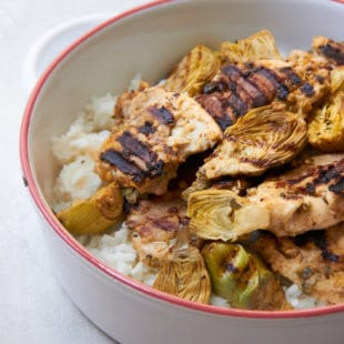 Grilled Lemony Chicken and Baby Artichokes / Mia / Katie Workman / themom100.com