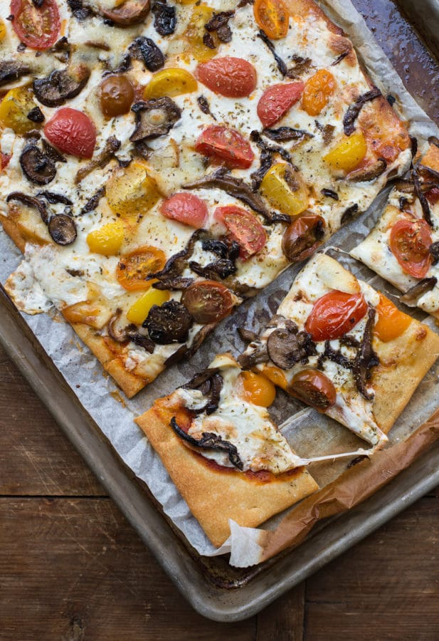 Mushroom, Mozzarella, and Cherry Tomato Pizza / Sarah Crowder / Katie Workman / themom100.com