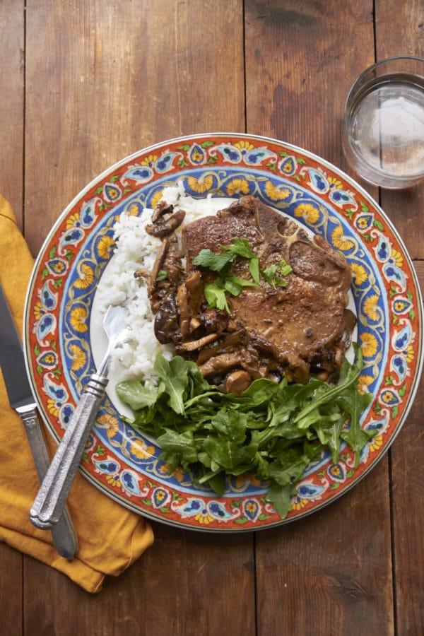 Pan Seared Pork Chops with Marsala and Mushroom Cream Sauce / Mia / Katie Workman / themom100.com