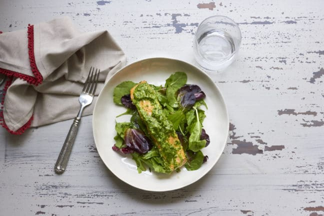 Herbed Salmon over a Soft Green Herby Salad / Mia / Katie Workman / themom100.com