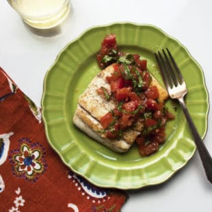 Pan Seared Fish with Tomato Basil Relish / Laura Agra / Katie Workman / themom100.com