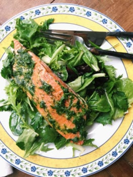 Herbed Salmon over a Soft Green Herby Salad / Katie Workman / themom100.com