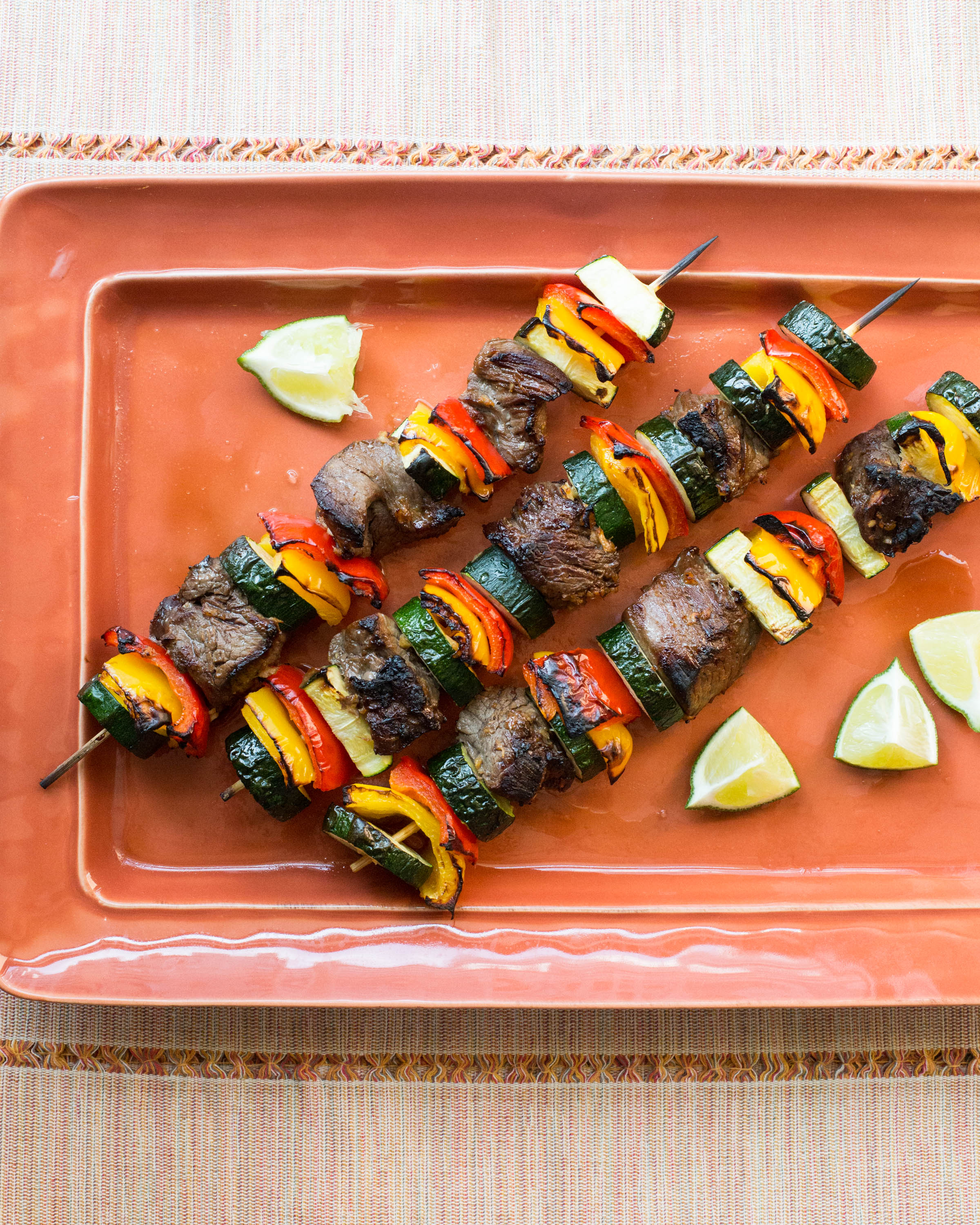Beef Teriyaki Kebabs with Peppers, Zucchini / Sarah Crowder / Katie Workman / themom100.com