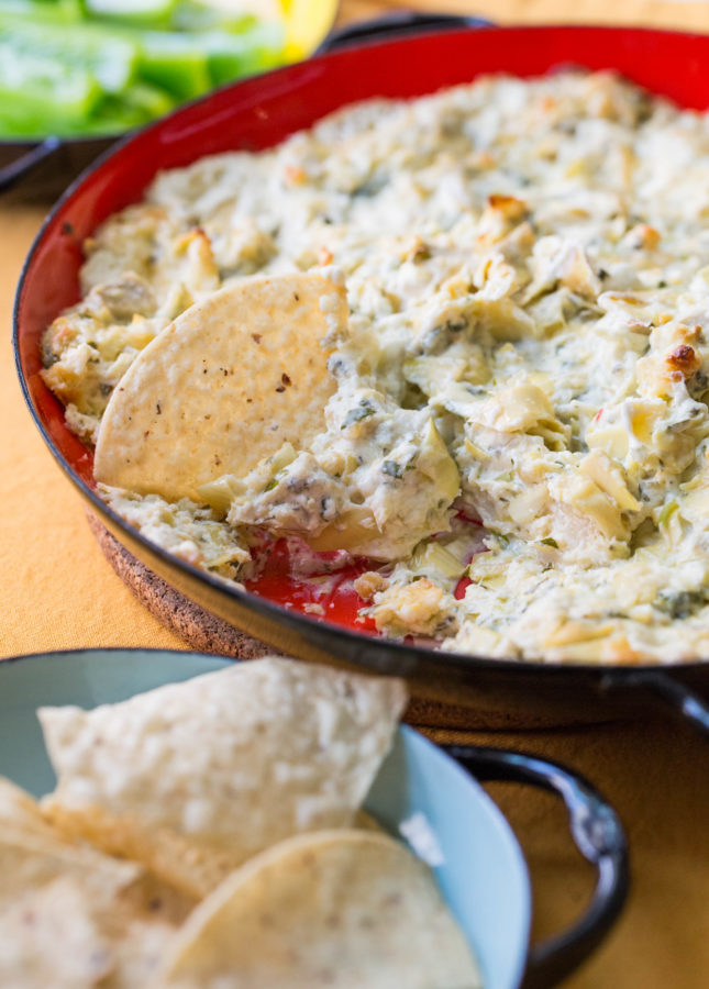 Spicy Cheesy Artichoke Dip / Sarah Crowder / Katie Workman / themom100.com