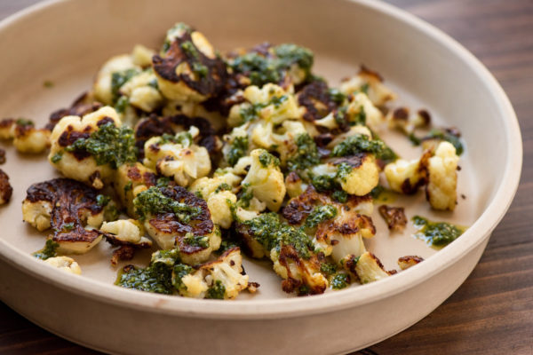 Roasted Cauliflower with Chimichurri Sauce / Photo by Cheyenne Cohen / Katie Workman / themom100.com