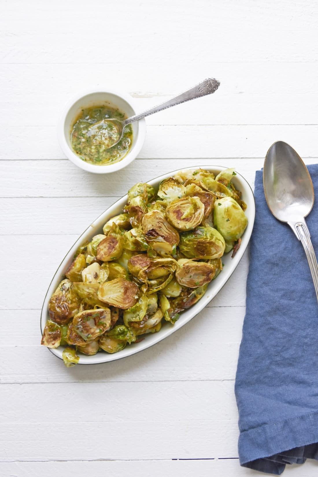 Warm Brussels Sprouts Salad with Anchovy Vinaigrette / Mia / Katie Workman / themom100.com