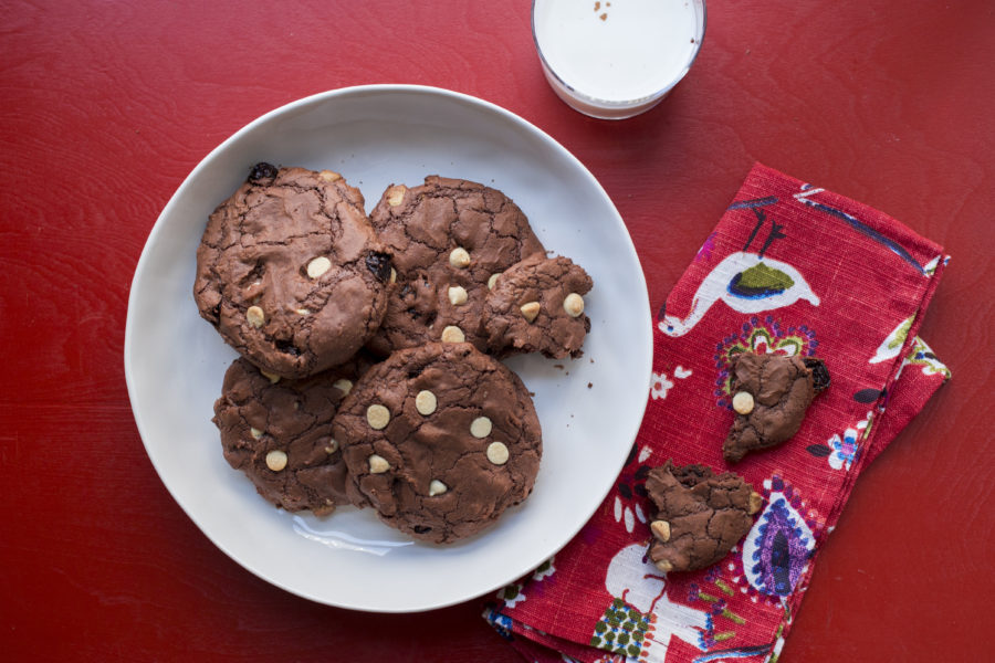 Big Chewy Brownie Cookies with Dried Cherries and White Chocolate Chips / Lucy Beni / Katie Workman / themom100.com