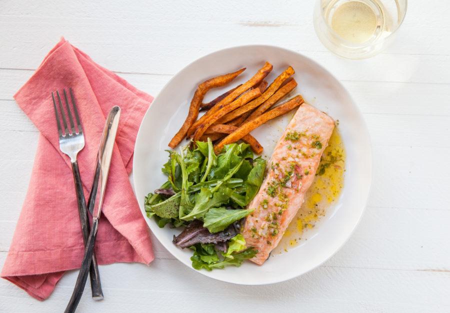 Salmon with Chervil Vinaigrette / Carrie Crow / Katie Workman / themom100.com