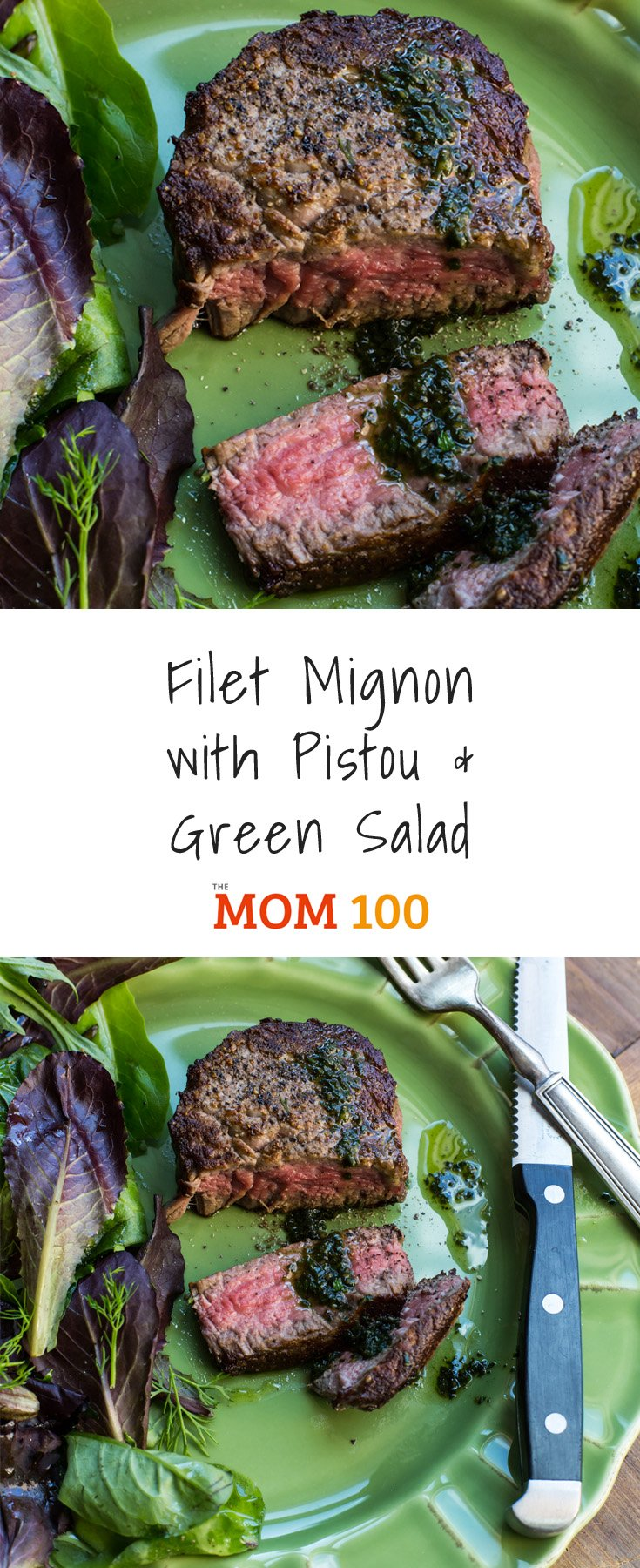 Filet Mignon with Pistou and Green Salad