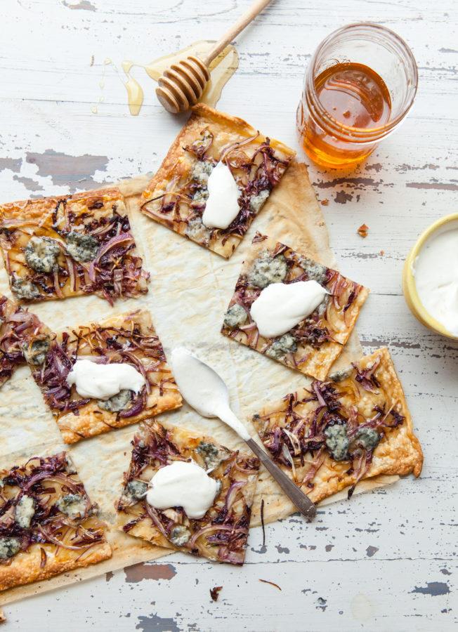 Blue Cheese, Radicchio, Onion and Honey Flatbread Strips / Carrie Crow / Katie Workman / themom100.com