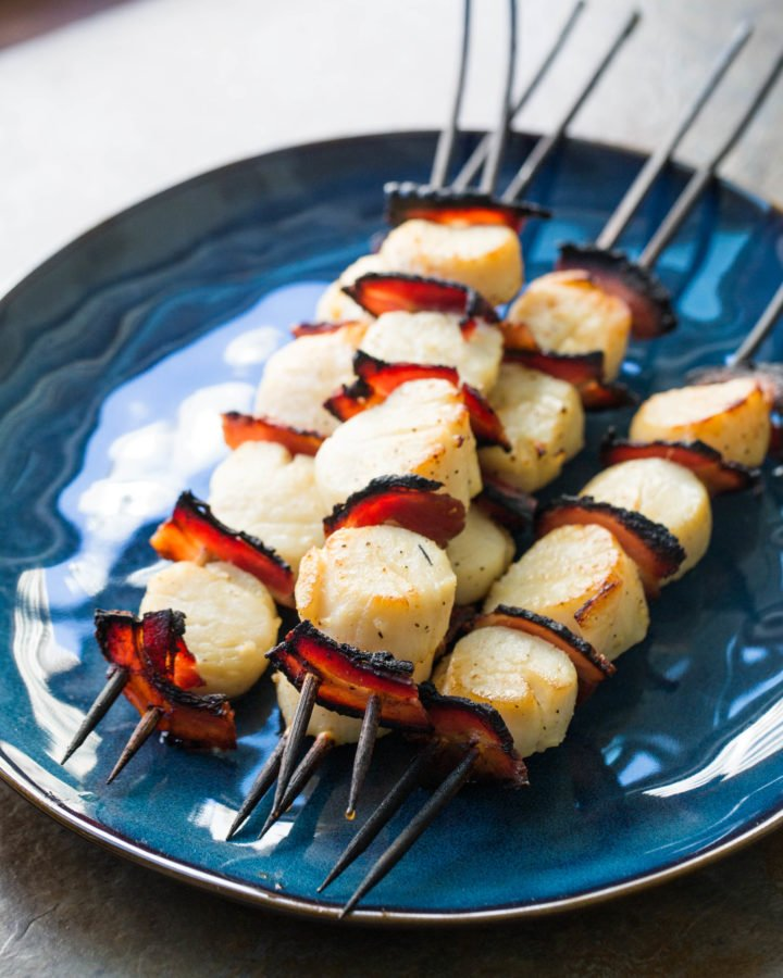 Scallop and Pancetta Kebabs with Balsamic Glaze