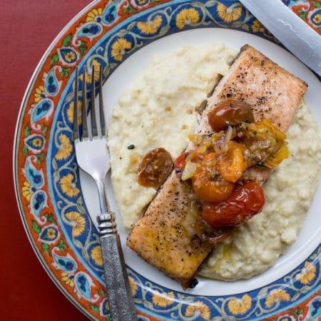 Salmon with Polenta and Warm Tomato Vinaigrette / Sarah Crowder / Katie Workman / themom100.com