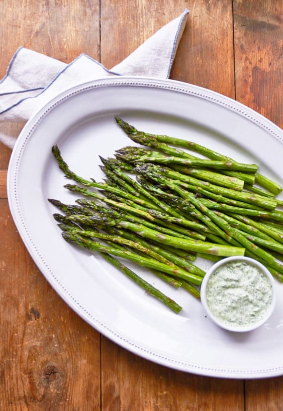 Asparagus with Herb Dipping Sauce / Photo by Mia / Katie Workman / themom100.com