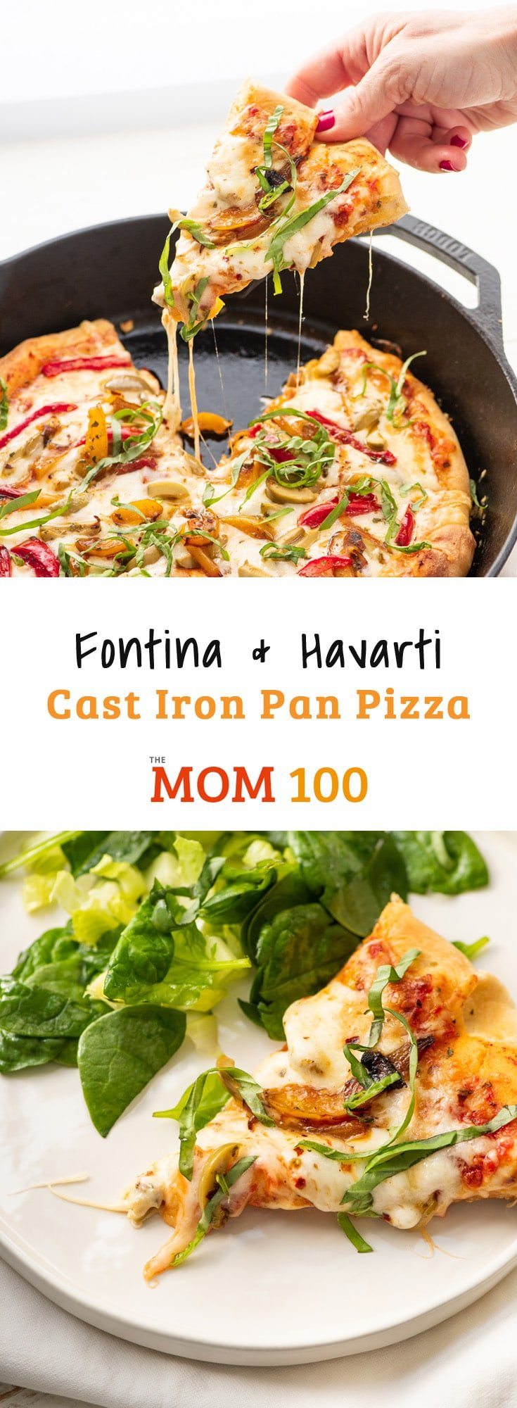 Fontina and Havarti Cast Iron Pan Pizza