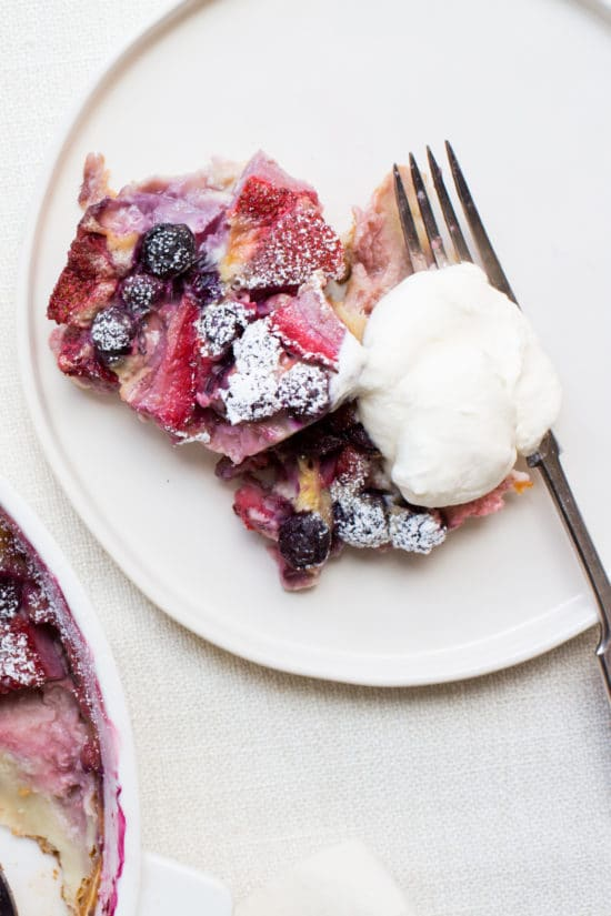 Berry Clafoutis Recipe / Katie Workman / themom100.com / Photo by Sarah Crowder