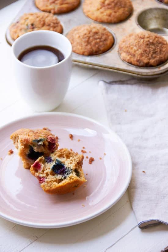 Cinnamon Streusel Muffins / Katie Workman / themom100.com / Photo by Mia