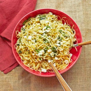 Linguine with Lemon, Feta and Basil / Katie Workman / themom100.com / Photo by Mia