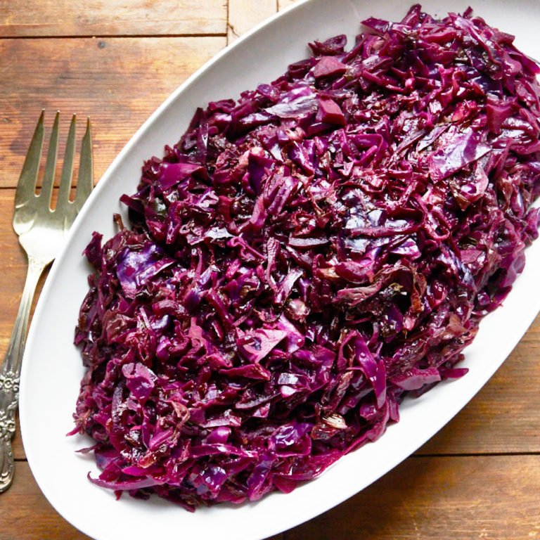 Spicy Braised Radicchio and Red Cabbage with Citrus / Katie Workman / themom100.com / Photo by Mia