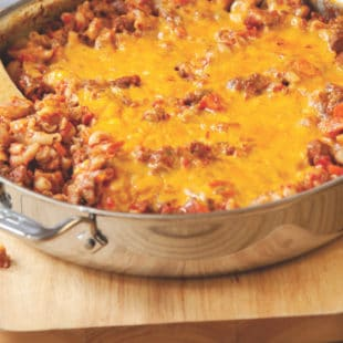 One-Skillet Cheesy Beef and Macaroni / Katie Workman / themom100.com / Photo by Todd Coleman