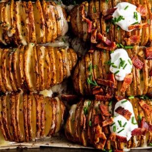 Easy Cheesy Loaded Hasselback Potatoes