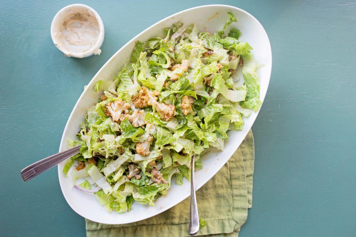 Roasted Cauliflower and Chickpea Salad with Tahini Dressing
