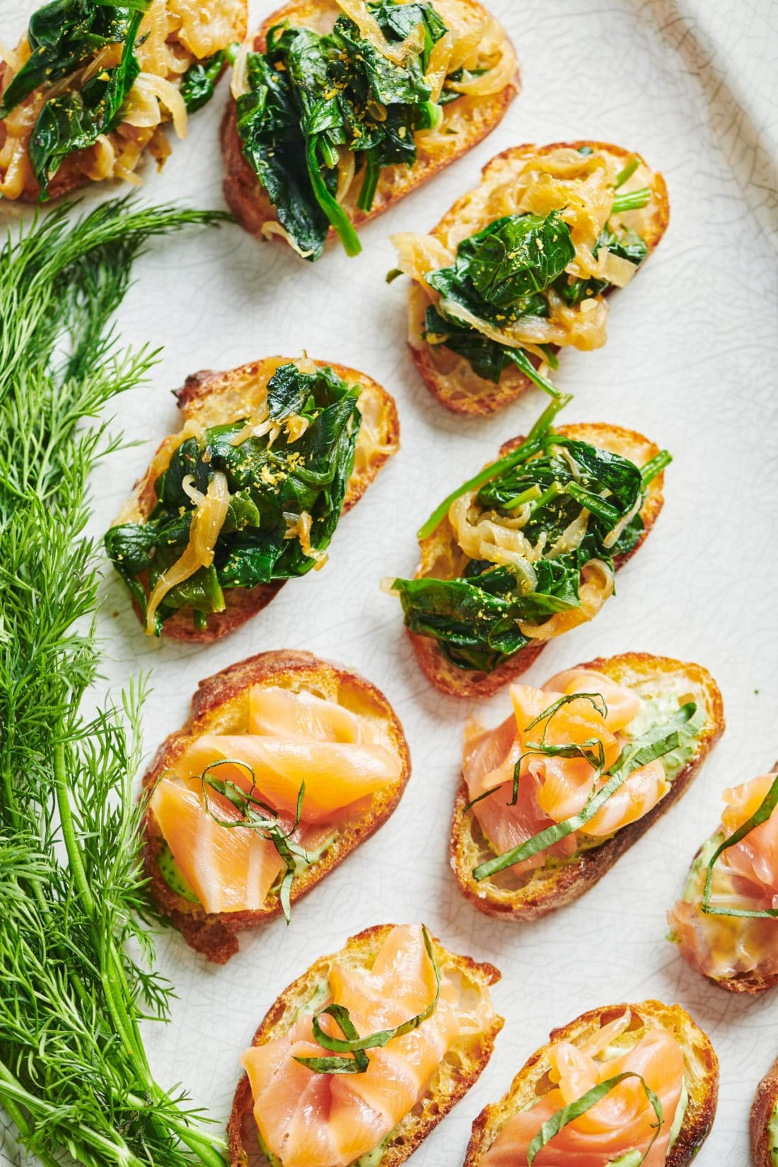 Caramelized Onion and Spinach Crostini