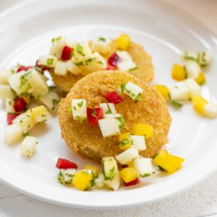 Fried Green Tomatoes with Pineapple Mint Salsa