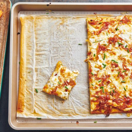 Four Cheese Pizza with Caramelized Onions