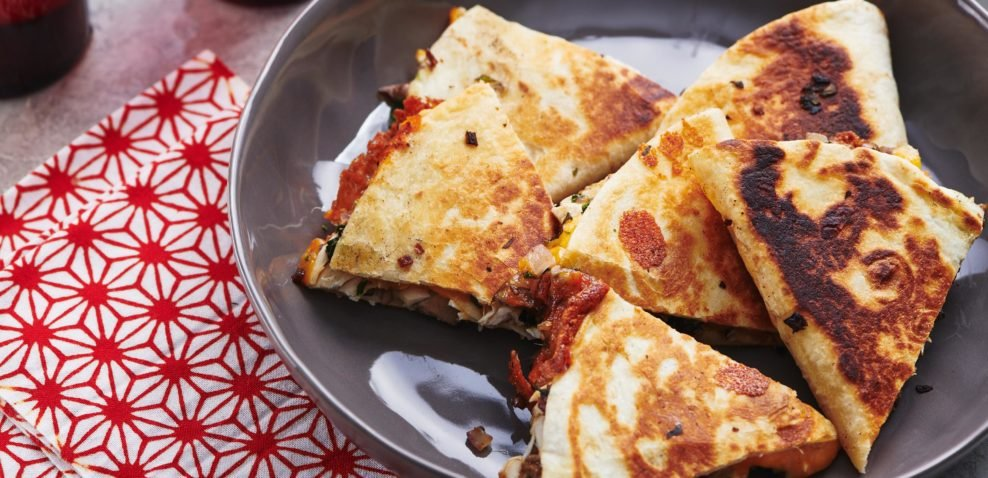 Chicken, Onion and Mushroom Quesadillas