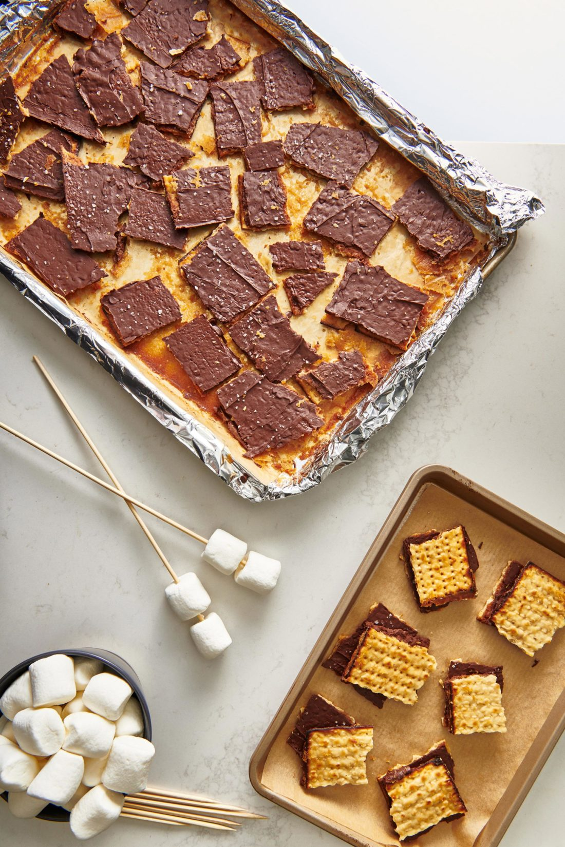 Chocolate Covered Caramelized Matzoh S'Mores