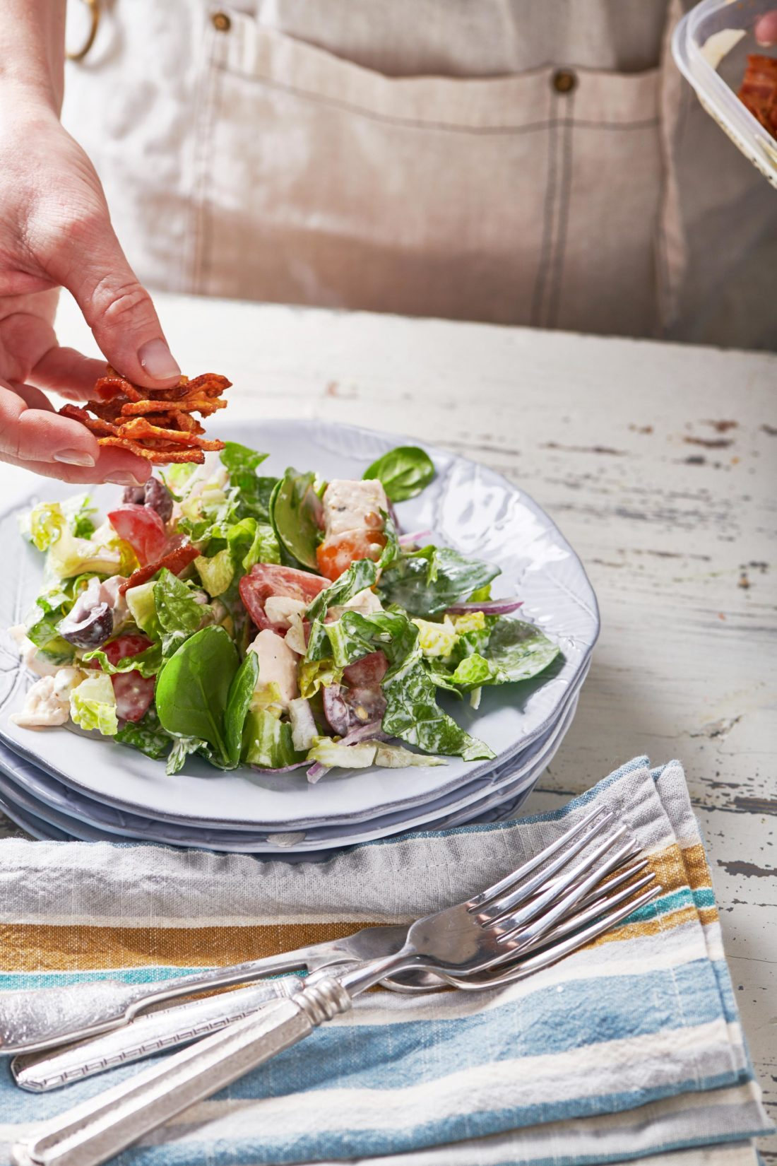 Chopped Salad with Chicken and Blue Cheese Dressing