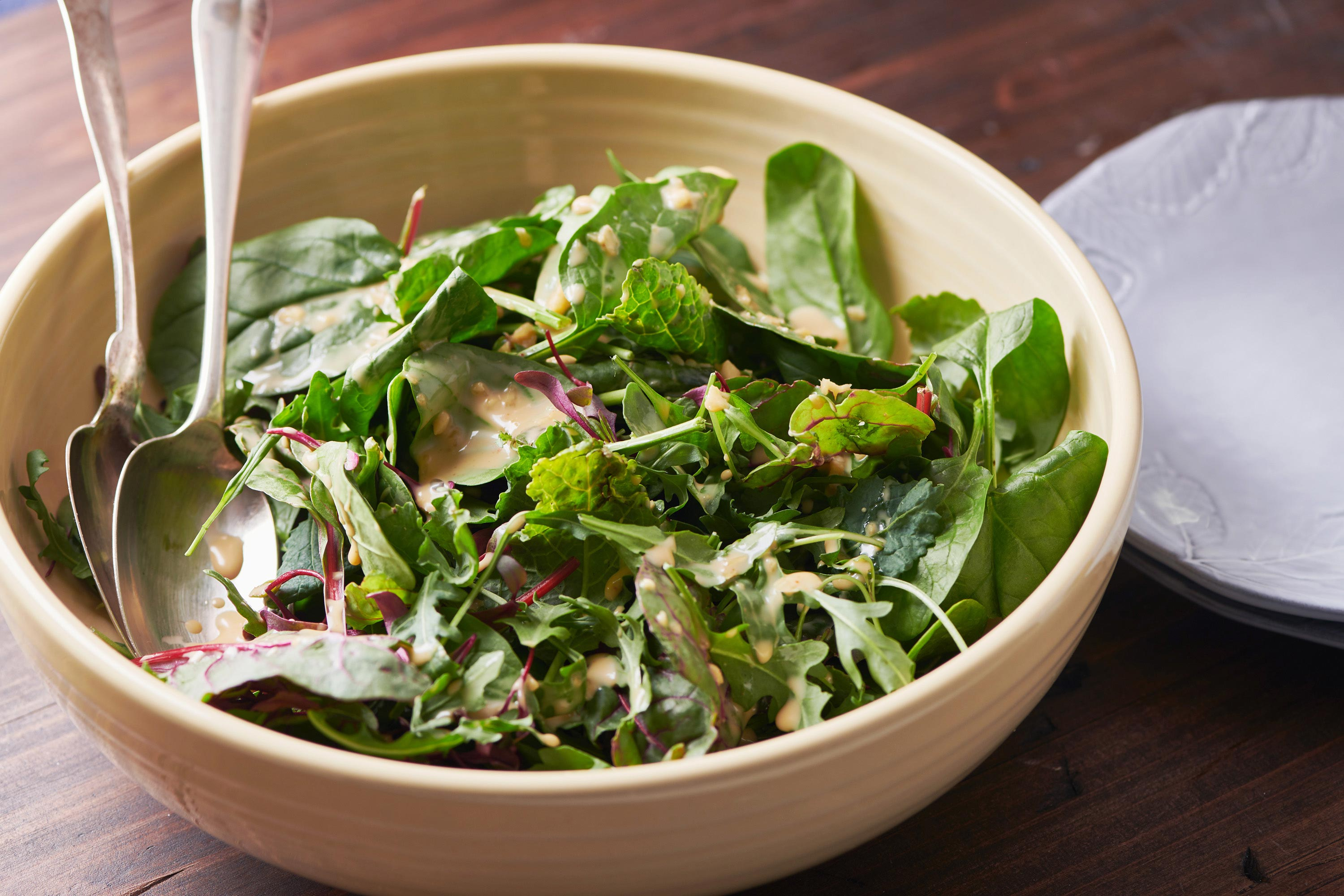Mixed Green Salad with Creamy Sesame Dressing — The Mom 100